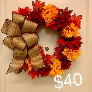 Beautiful 14 inch, Handmade Fall Mum Wreath